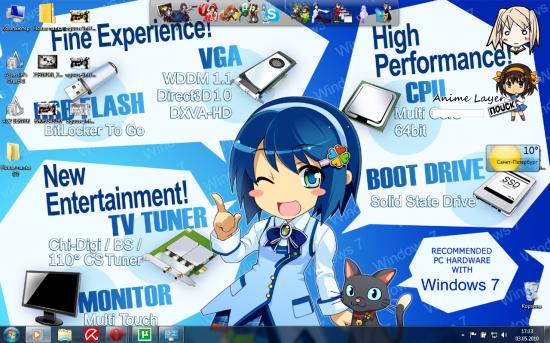 Отличная Аниме тема для Windows 7 Нанами Мадобэ - Windows 7 Anime Theme Nanami Madobe.